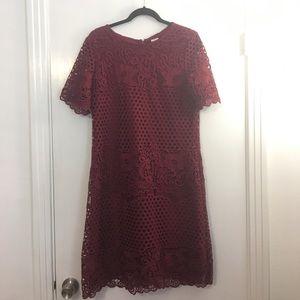 ModCloth Wine Lace Shift Dress 12/14, Like New